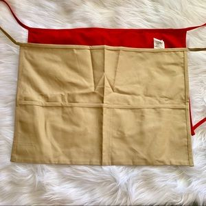 NWOT Khaki and Red Cotton Polyester Kitchen Aprons